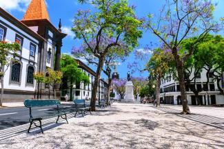 The streets of Funchal, the capital of Madeira Island in Portugal